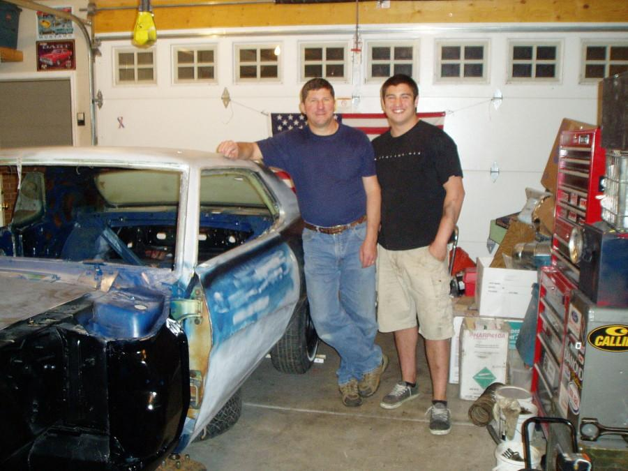 Photo courtesy of Dan Egan. Egan dedicates a lot of time to fixing up a damaged Mercury Cougar. It is the same model as his dad's old car, as well as a dedication to his grandmother with cancer.