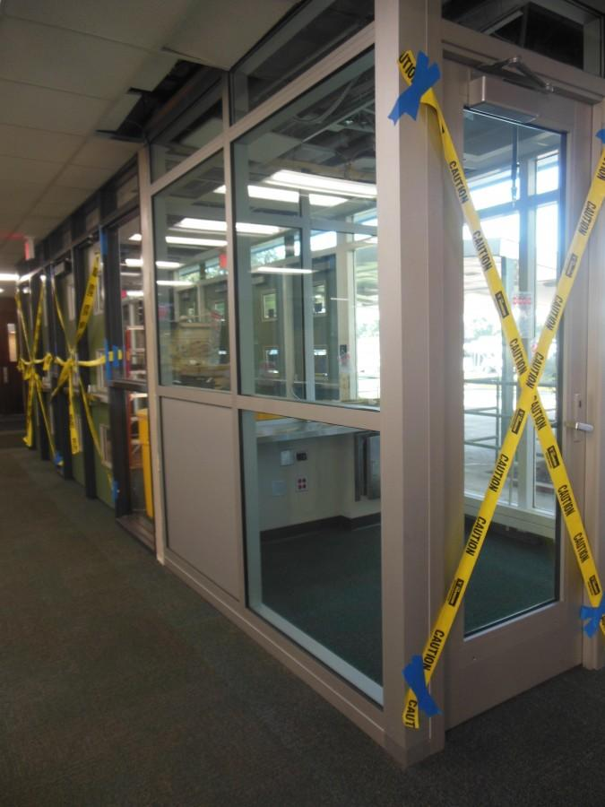 UNFINISHED BUSINESS: The vestibules near the front and back entrances of the school are far from operational. The administration is waiting on a special type of glass that may not be ready for use until November.