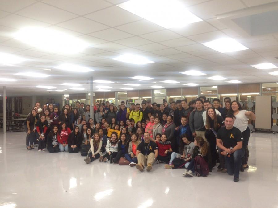JUNIOR HIGH MENTORS: Estudiantes Unidos pose for a picture after an informational meeting held by teachers Ricardo Castro, Ioanna LoDestro, Julian Barraza and Samantha Calderon.