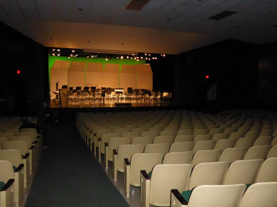 """FILLED TO THE BRIM: The """"little theater"""" struggled to host all of the attendees of a band concert on Friday, April 29, forcing ushers to stand in the back of the room."""