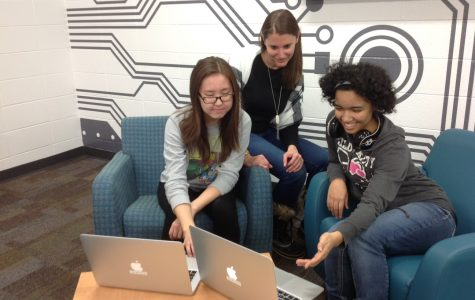 BYTE BY BYTE: Junior Misheel Damdinbazar, who helped bring coding for girls to Elk Grove, works online with sponsor Kristen Fisher and her friend junior Rhiannan Morrison in the Digital Maker Space.