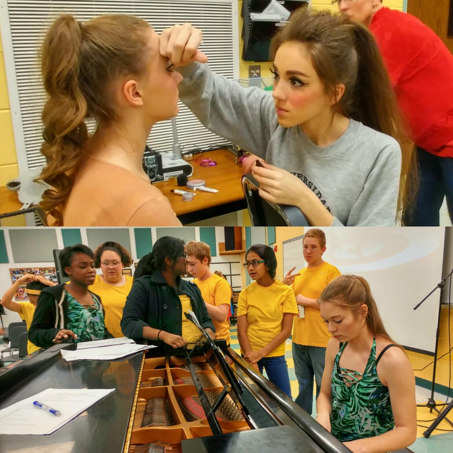 BACKSTAGE: While senior Alexa Williams and sophomore Allie Skiple perfected their makeup, students from both Friendship and Grove junior high schools rehearsed their parts just moments before going onstage.