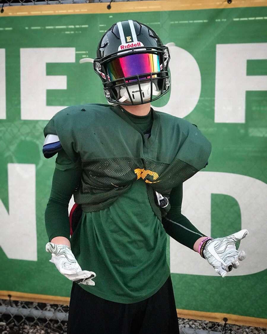 Senior receiver Mark Matos poses with a shrug. Photo courtesy of Thomas Fitzgerald.