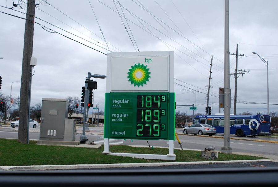 The BP gas station on Arlington Heights Road reveals low prices below $2 for regular gas. Photo by Natalia Habas.